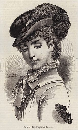 The Bauzeval Chapeau. Illustration for Myra's Journal of Dress and Fashion, 1 July 1881.