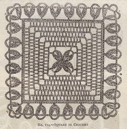 Square in Crochet. Illustration for Myra's Journal of Dress and Fashion, 1 August 1881.