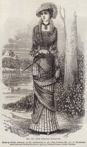 The Cordova Toilette. Illustration for Myra's Journal of Dress and Fashion, 1 August 1881.