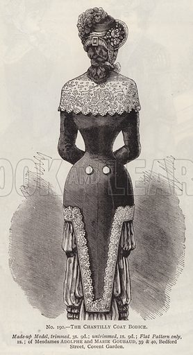 The Chantilly Coat Bodice. Illustration for Myra's Journal of Dress and Fashion, 1 August 1881.