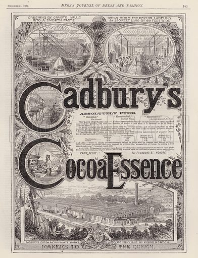 Advertisement for Cadbury's Cocoa Essence. Illustration for Myra's Journal of Dress and Fashion, 1 December 1881.
