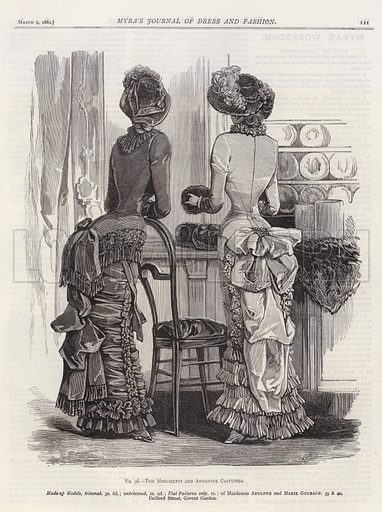 The Minghetti and Antonine Costumes. Illustration for Myra's Journal of Dress and Fashion, 1 March 1882.