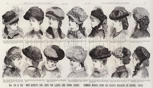 New Bonnets and Hats for Ladies and Young Ladies; Summer Models from Les Grands Magasins Du Louvre, Paris. Illustration for Myra's Journal of Dress and Fashion, 1 May 1882.