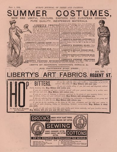 Advertisement for Liberty's Art Fabrics. Illustration for Myra's Journal of Dress and Fashion, 1 June 1882.