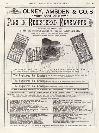 Advertisement for Pins in Registered Envelopes. Illustration for Myra's Journal of Dress and Fashion, June 1882.