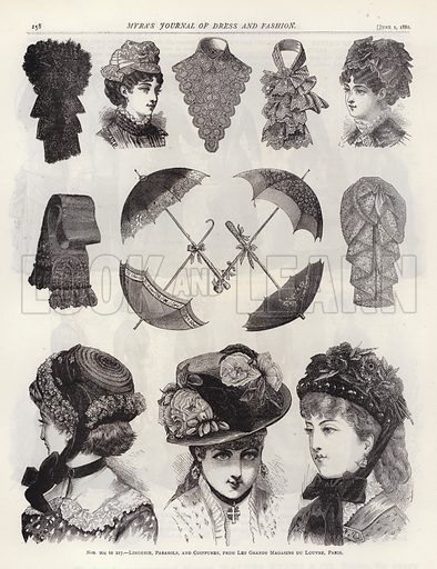 Lingerie, Parasols, and Coiffures, from Les Grands Magasins du Louvre, Paris. Illustration for Myra's Journal of Dress and Fashion, 1 June 1882.