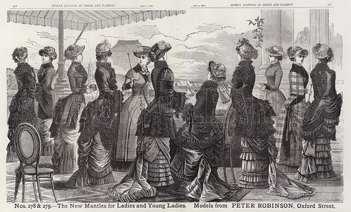 The New Mantles for Ladies and Young Ladies, Models from Peter Robinson, Oxford Street. Illustration for Myra's Journal of Dress and Fashion, 1 July 1882.