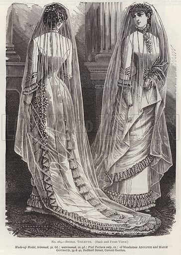 Bridal Toilette, Back and Front Views. Illustration for Myra's Journal of Dress and Fashion, 1 July 1882.
