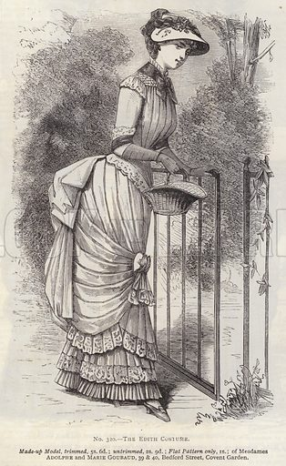 The Edith Costume. Illustration for Myra's Journal of Dress and Fashion, 1 August 1882.
