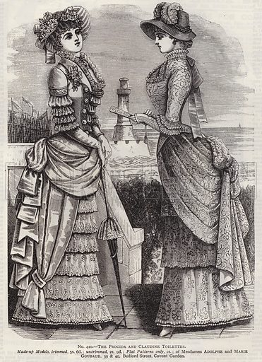 The Procida and Claudine Toilettes. Illustration for Myra's Journal of Dress and Fashion, 1 September 1882.