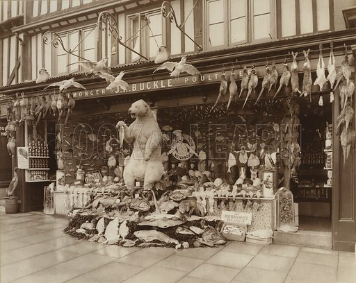 Prize-winning fishmonger and poulterer window display, 1936