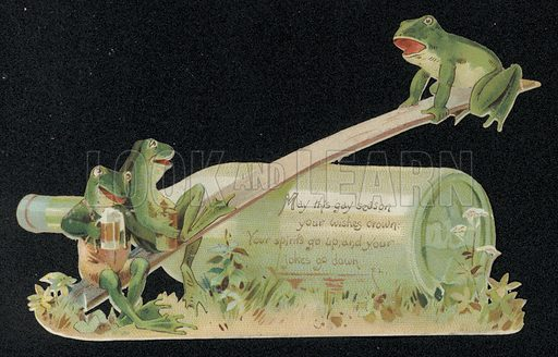 Frogs playing seesaw, Christmas card