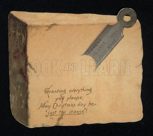 Cheshire cheese and blade, Christmas greetings card