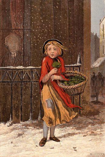 Poor girl selling watercress on a snowy street