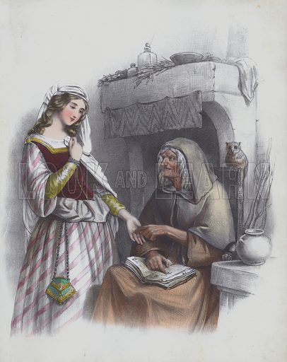 Young woman having her palm read by an older woman