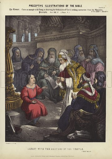 Christ with the Doctors in the Temple. Luke II, 41-47. Illustration for Preceptive Illustrations of The Bible, A New Series of 52 Coloured Prints, Designed to Aid Scriptural Instruction in Schools, and as a Help to Home Education (Thomas Varty, 1848 or earlier). Hand coloured engraving.