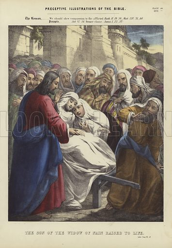 The Son of the Widow of Nain raised to Life. Luke, Chapter VII, 11. Illustration for Preceptive Illustrations of The Bible, A New Series of 52 Coloured Prints, Designed to Aid Scriptural Instruction in Schools, and as a Help to Home Education (Thomas Varty, 1848 or earlier). Hand coloured engraving.