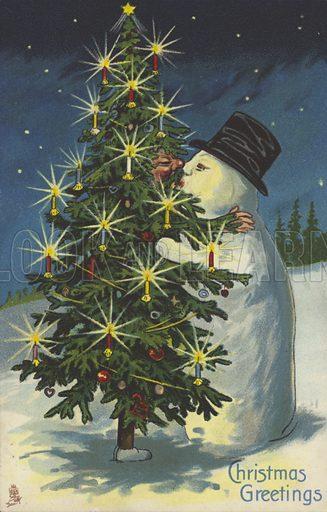 Snowman and Christmas tree kissing