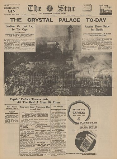Destruction of the Crystal Palace, Sydenham, by fire. Illustration from The Star, 1 December, 1936.