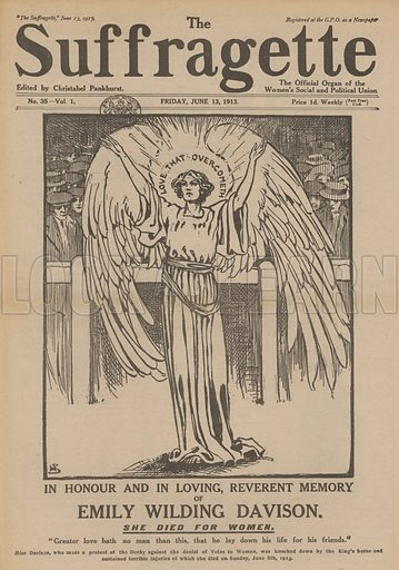 Memorial tribute to Emily Wilding Davison, English suffragette. Davison died from injuries sustained after she was knocked down by the King's horse while protesting on the racetrack during the running of the Derby at Epsom. Illustration from The Suffragette, 13 June 1913.