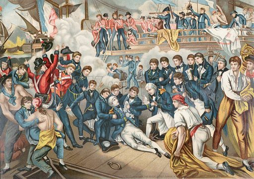 The death of Admiral Lord Nelson at the Battle of Trafalgar