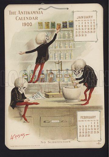 Illustration for Antikamnia Calendar, 1900