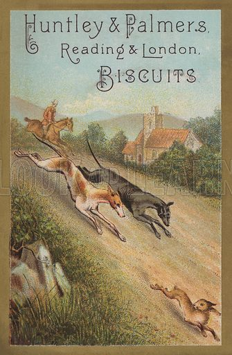Hare coursing. Advertising card for Huntley & Palmer's biscuits.