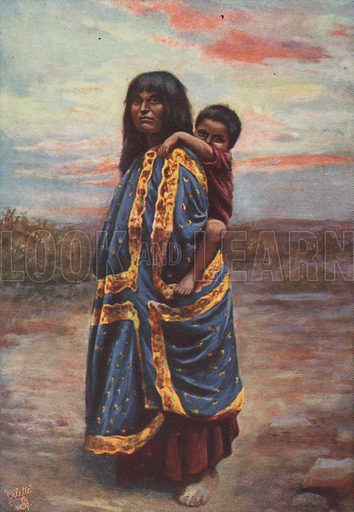 A Havasupai Indian squaw and papoose. From a series of postcards titled Native Arizonians (USA).