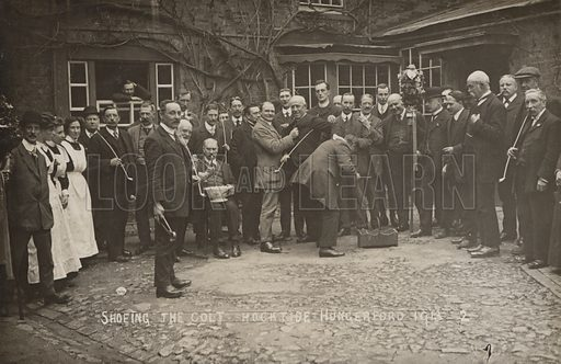 Shoeing the Colt on Hocktide, Hungerford, Berkshire, 1913. A long standing tradition celebrated in the town on the Tuesday of the week following the Tuesday after Easter.