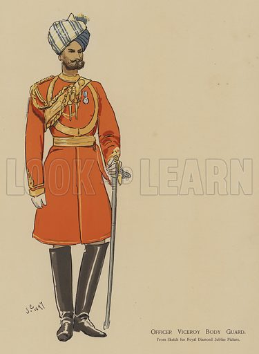 Officer Viceroy Body Guard. Illustration for souvenir programme issued in connection with the Royal Naval and Military Bazaar, 19–21 June 1900.