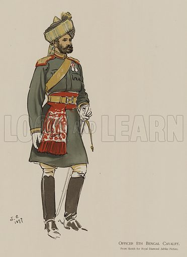 Officer 8th Bengal Cavalry. Illustration for souvenir programme issued in connection with the Royal Naval and Military Bazaar, 19–21 June 1900.