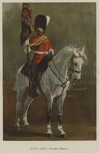 Scots Greys, Standard Bearer. Illustration for souvenir programme issued in connection with the Royal Naval and Military Bazaar, 19–21 June 1900.
