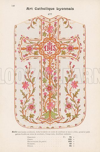 Page from catalogue of vestments published by C Bouvard & Cie, Lyon, 1908.