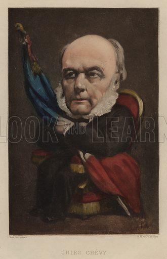 Jules Grevy (1807–1891), French statesman. Illustration from Vingt Portraits Contemporiens par Andre Gill (M Magnier et Cie, Paris, 1886).