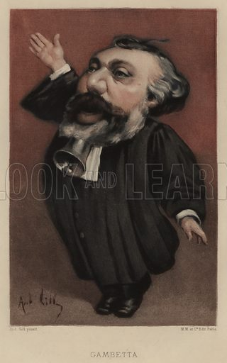 Leon Gambetta (1838–1882), French statesman. Illustration from Vingt Portraits Contemporiens par Andre Gill (M Magnier et Cie, Paris, 1886).