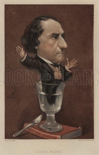 Louis Blanc (1811–1882), French politician and historian. Illustration from Vingt Portraits Contemporiens par Andre Gill (M Magnier et Cie, Paris, 1886).