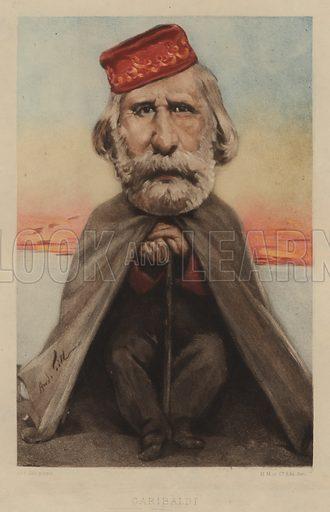 Giuseppe Garibaldi (1807–1882), Italian soldier, politician and nationalist. Illustration from Vingt Portraits Contemporiens par Andre Gill (M Magnier et Cie, Paris, 1886).