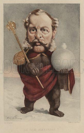 Tsar Alexander II of Russia (1818–1881). Illustration from Vingt Portraits Contemporiens par Andre Gill (M Magnier et Cie, Paris, 1886).
