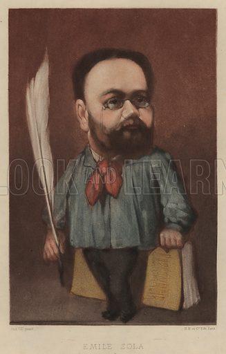 Emile Zola (1840–1902), French novelist, playwright and journalist. Illustration from Vingt Portraits Contemporiens par Andre Gill (M Magnier et Cie, Paris, 1886).