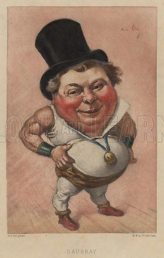 Daubray (1837–1892), French actor and singer. Illustration from Vingt Portraits Contemporiens par Andre Gill (M Magnier et Cie, Paris, 1886).