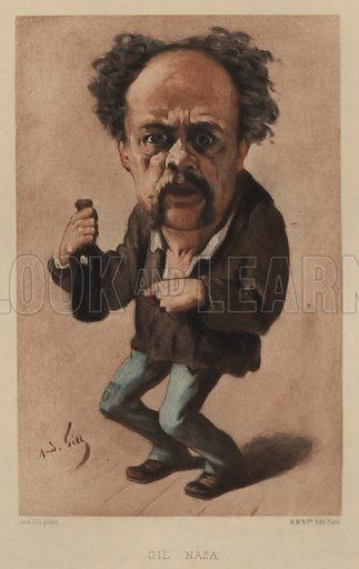 Gil Naza (1825–1899), French actor. Illustration from Vingt Portraits Contemporiens par Andre Gill (M Magnier et Cie, Paris, 1886).