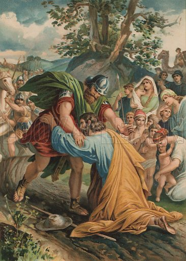 The reconciliation of Jacob and Esau. Illustration from My Bible Picture Book (SW Partridge & Co, London, c1908).