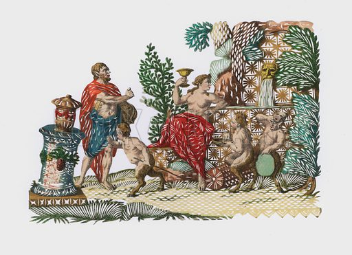 Bacchus and Ariadne. Extremely rare example of hand-cut paper, utilising hand-coloured engraving. Probably French of German, 18th century.
