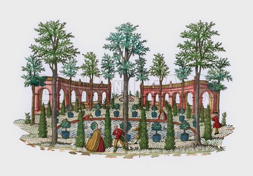 Scene in an Italianate garden. Extremely rare example of hand-cut paper, utilising hand-coloured engraving. Probably French of German, 18th century.