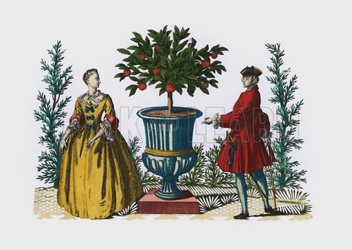 Man and woman in 18th Century dress in a garden. Extremely rare example of hand-cut paper, utilising hand-coloured engraving. Probably French of German, 18th century.