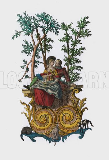 Two lovers in a garden. Extremely rare example of hand-cut paper, utilising hand-coloured engraving. Probably French of German, 18th century.