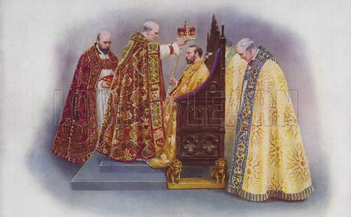 The Crowning of the King by the Archbishop of Canterbury. The Dean of Westminster and the Bishop of Bath and Wells standing beside the Throne. Illustration relating to the coronation of King George V and Queen Mary which took place at Westminster Abbey, London on 22 June 1911. From A Pageant of Twenty-Five Wonderful Years published by The Queen (1 May 1935).