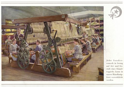 Illustration for book celebrating fifty years, 1880-1930, of  the carpet manufacturers Halbmond-Teppichfabrik Von Koch Und Te Kock, Oelsnitz-Vogtl (1930).  A fascinating visual account of a major carpet manufacturer, and model German business.
