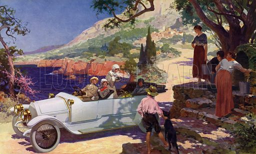 Touring the Cote d'Azur by car. Illustration for The Printing Art, Volume XXIII, No 3, May 1914.