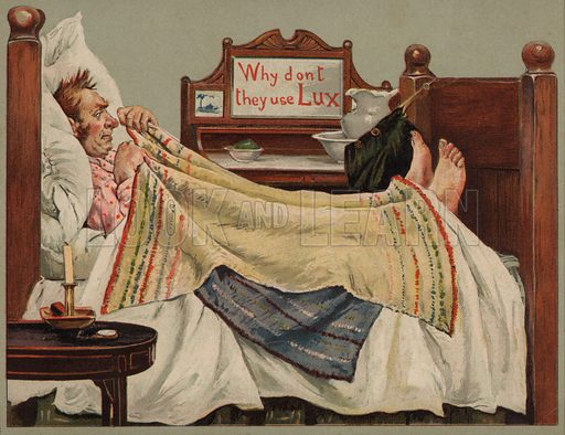 Man in bed: advertisement for Lux soap